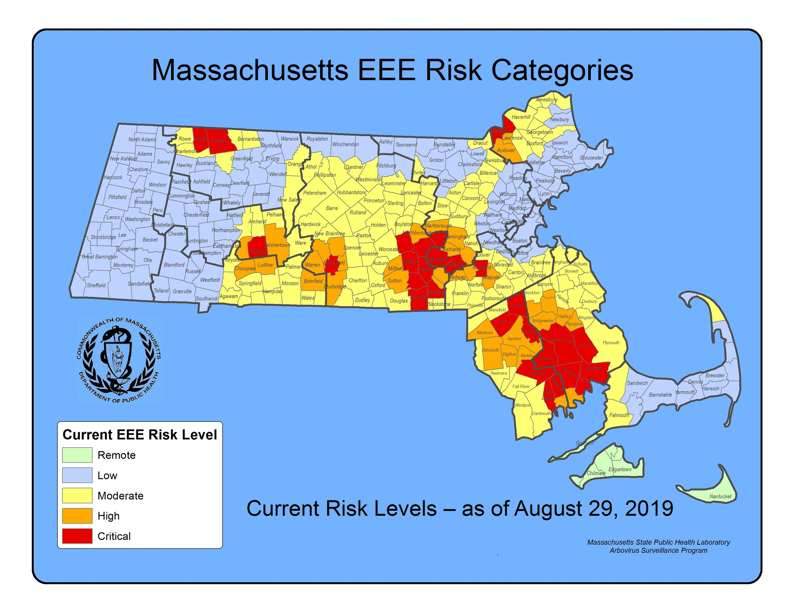 Map of Massachusetts communities with EEE risk levels