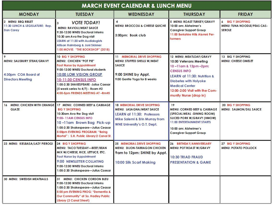 March 2020 Lunch and Activities Calendar